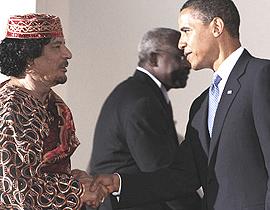 Gheddafi e Obama al G8 dell'Aquila