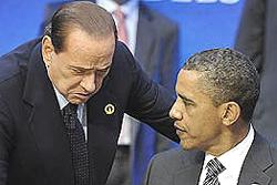 Berlusconi abborda Obama al G8 di Deauville