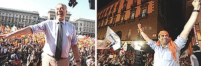elezioni Pisapia e De Magistris festeggiano