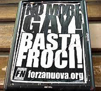 omofobia: un manifesto di Forza Nuova