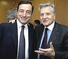 Mario Draghi con Jean-Claude Trichet