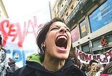 La protesta degli studenti italiani a fine 2010