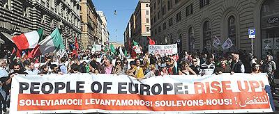 Il grande corteo del 15 ottobre a Roma