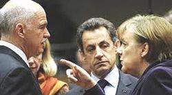 Papandreou, Sarkozy e Merkel