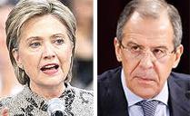 Hillary Clintron e Sergey Lavrov