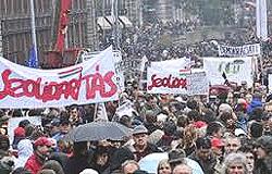 manifestazione antigovernativa a Budapest
