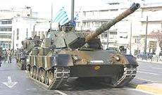 Un carro tedesco Leopard dell'esercito greco