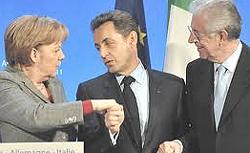 Merkel, Sarkozy e Monti