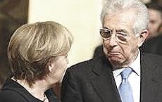 Mario Monti con Angela Merkel