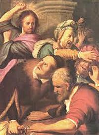 Rembrandt: Gesù scaccia i cambiavalute dal tempio