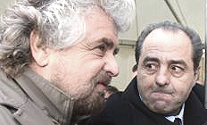 Beppe Grillo con Antonio Di Pietro