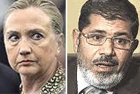 Hillary Clinton e l'egiziano Mohamed Morsi