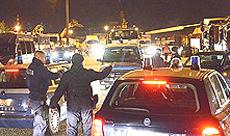 L'arrivo delle trivelle sotto scorta all'autoporto di Susa