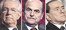 Monti, Bersani e Berlusconi