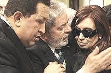 Chavez con Lula e Cristina Kirchner