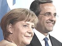 Antonis Samaras con Angela Merkel