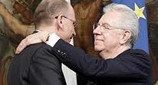 Mario Monti con Enrico Letta
