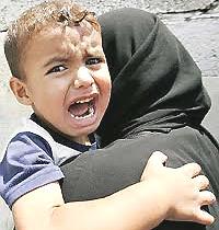 Il terrore negli occhi un bimbo palestinese