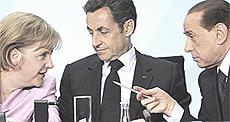 Merkel, Sarkozy e Berlusconi