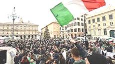 Il tricolore sventolato dai Forconi