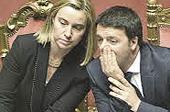 Federica Mogherini con Matteo Renzi
