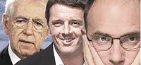 Monti, Letta e Renzi: stessa identica politica