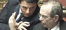 Renzi col ministro Padoan