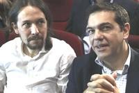 Tsipras con Pablo Iglesias, leader di Podemos