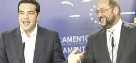 Tsipras con Martin Schulz