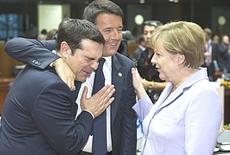 Tsipras con Renzi e la Merkel