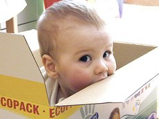 baby into a box