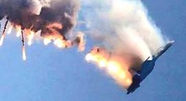 Il bombardiere Su-24 abbattuto dai turchi