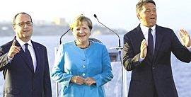 Il trio dei leader convenuti a Ventotene il 22 agosto 2016