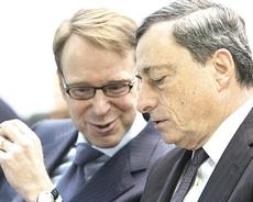 Jens Weidmann con Mario Draghi