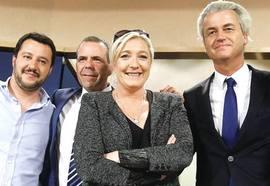 Salvini, l'austriaco Harald Vilmsky, la Le Pen e Wilders