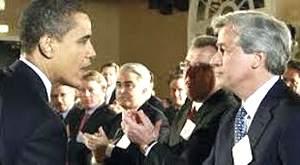 Barack Obama con Jamie Dimon di Jp Morgan