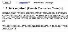 L'annuncio di Craiglist: attori richiesti a Phoenix