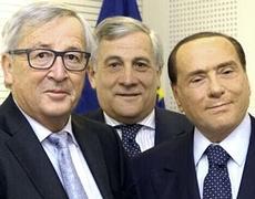 Juncker, Tajani e Berlusconi
