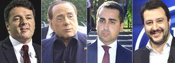 Renzi, Berlusconi, Di Maio e Salvini