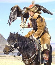 Mongolia, falconiere a cavallo con un'aquila