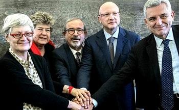 I vertici sindacali con Vincenzo Boccia di Confindustria