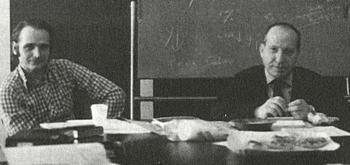 L'allora giovane Amoroso con il suo maestro Federico Caffè