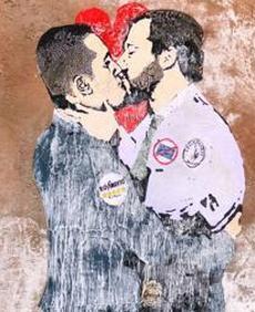 Murales bacio Salvini Di Maio