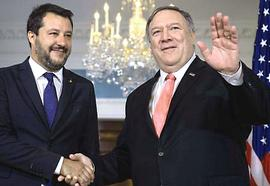 Salvini con Mike Pompeo