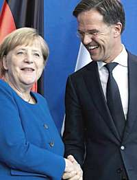 Angela Merkel con l'olandese Mark Rutte