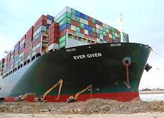 Il cargo Ever Given incagliatosi nel Canale di Suez