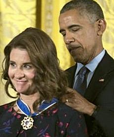 Melinda Gates premiata da Obama